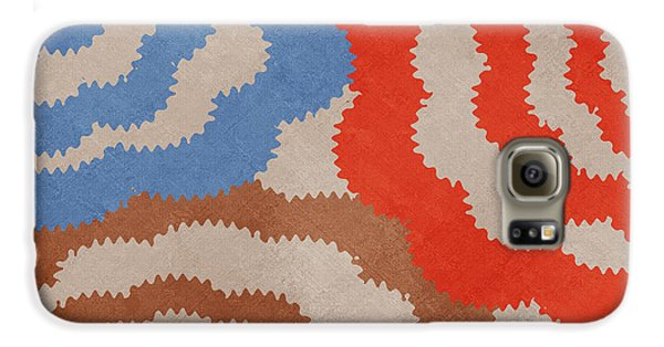 Galaxy S6 Case featuring the mixed media Taupe Ring Pattern by Christina Rollo