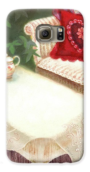 Galaxy S6 Case featuring the painting Tea In A Victorian Cottage Garden by Nancy Lee Moran