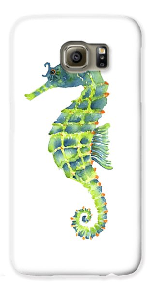 Teal Green Seahorse - Square Galaxy S6 Case by Amy Kirkpatrick