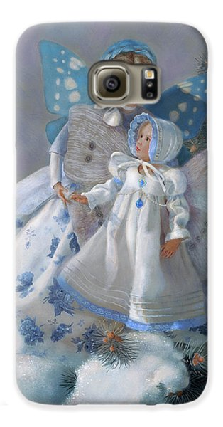 Galaxy S6 Case featuring the painting Tenderness Snow Fairies by Nancy Lee Moran