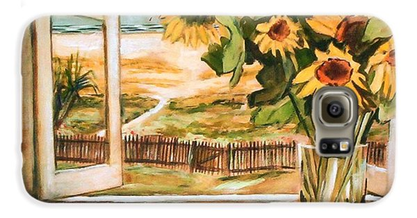 The Beach Sunflowers Galaxy S6 Case by Winsome Gunning