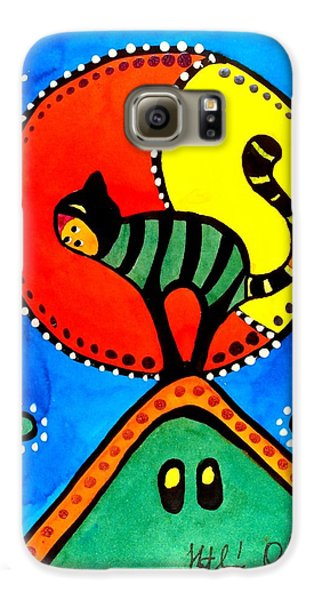 The Cat And The Moon - Cat Art By Dora Hathazi Mendes Galaxy S6 Case by Dora Hathazi Mendes