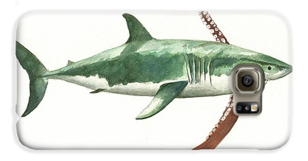 Sharks Galaxy S6 Case - The Great White Shark And The Octopus by Juan Bosco