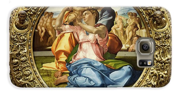 The Holy Family - Doni Tondo - Michelangelo - Round Canvas Version Galaxy S6 Case