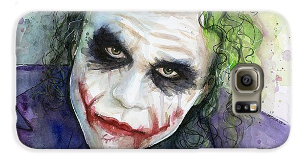 Knight Galaxy S6 Case - The Joker Watercolor by Olga Shvartsur