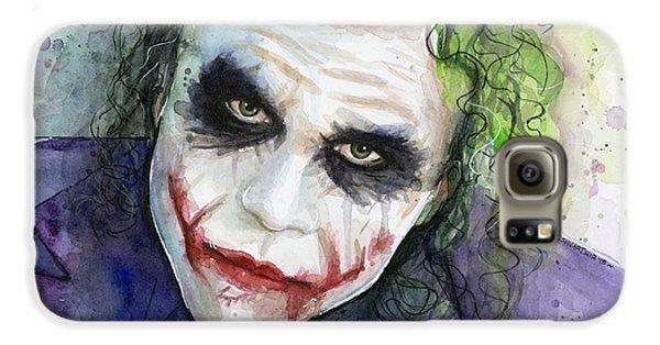 The Joker Watercolor Galaxy S6 Case by Olga Shvartsur