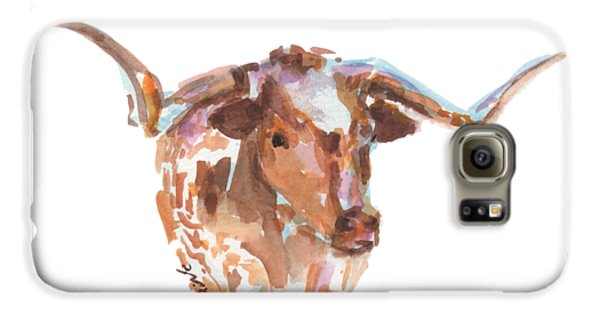 Cow Galaxy S6 Case - The Original Longhorn Standing Earth Quack Watercolor Painting By Kmcelwaine by Kathleen McElwaine