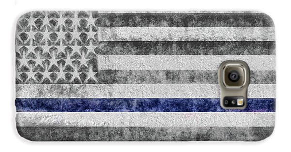 Galaxy S6 Case featuring the digital art The Thin Blue Line American Flag by JC Findley