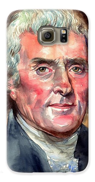 Thomas Jefferson Galaxy S6 Case - Thomas Jefferson Portrait by Suzann's Art