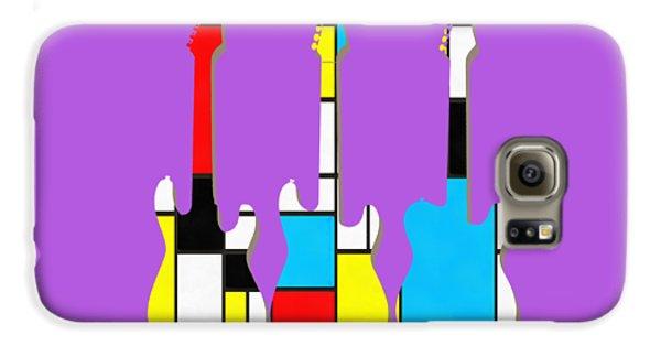 Guitar Galaxy S6 Case - Three Guitars Modern Tee by Edward Fielding