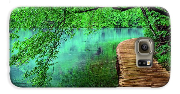 Tree Hanging Over Turquoise Lakes, Plitvice Lakes National Park, Croatia Galaxy S6 Case