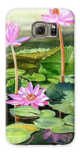 Lily Galaxy S6 Case - Three Pink Water Lilies With Pads by Sharon Freeman