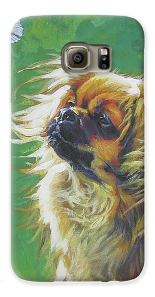 Tibetan Spaniel And Cabbage White Butterfly Galaxy S6 Case by Lee Ann Shepard
