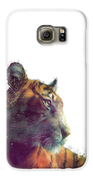 Tiger Galaxy S6 Case - Tiger // Solace - White Background by Amy Hamilton