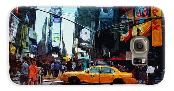 Times Square Taxi- Art By Linda Woods Galaxy S6 Case