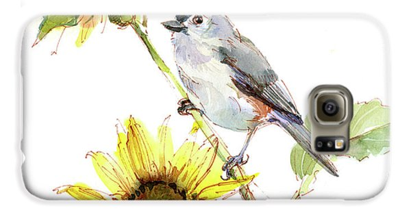 Titmouse Galaxy S6 Case - Titmouse With Sunflower by John Keeling