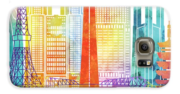 Tokyo Skyline Galaxy S6 Case - Tokyo Landmarks Watercolor Poster by Pablo Romero