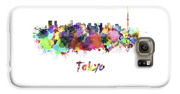Tokyo V2 Skyline In Watercolor Galaxy S6 Case by Pablo Romero