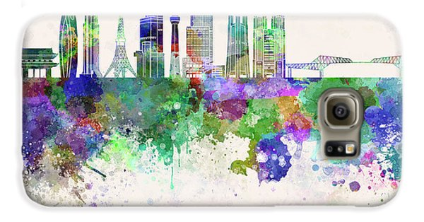 Tokyo V3 Skyline In Watercolor Background Galaxy S6 Case