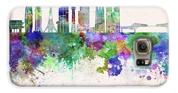Tokyo Skyline Galaxy S6 Case - Tokyo V3 Skyline In Watercolor Background by Pablo Romero