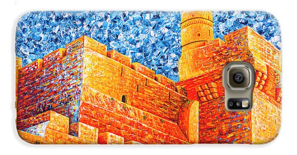 Galaxy S6 Case featuring the painting Tower Of David At Night Jerusalem Original Palette Knife Painting by Georgeta Blanaru