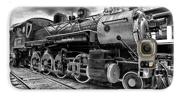 Train - Steam Engine Locomotive 385 In Black And White Galaxy S6 Case