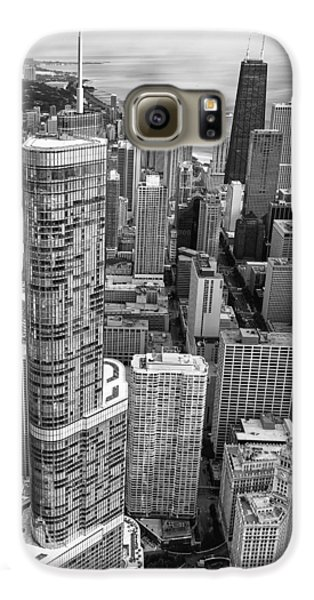 Galaxy S6 Case featuring the photograph Trump Tower And John Hancock Aerial Black And White by Adam Romanowicz