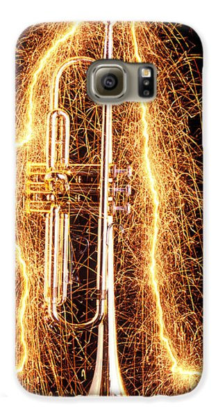 Trumpet Galaxy S6 Case - Trumpet Outlined With Sparks by Garry Gay