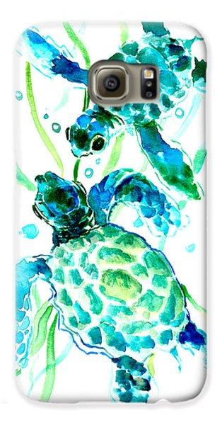 Turquoise Indigo Sea Turtles Galaxy S6 Case
