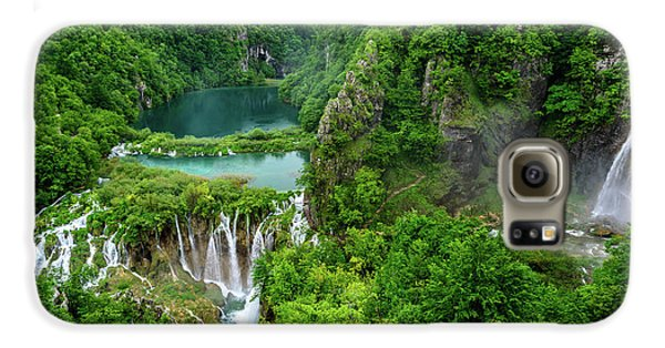 Turquoise Lakes And Waterfalls - A Dramatic View, Plitivice Lakes National Park Croatia Galaxy S6 Case