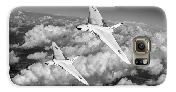 Galaxy S6 Case featuring the photograph Two Avro Vulcan B1 Nuclear Bombers Bw Version by Gary Eason