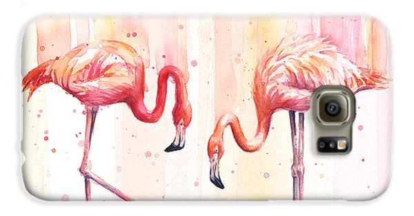 Two Flamingos Watercolor Galaxy S6 Case by Olga Shvartsur