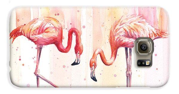 Birds Galaxy S6 Case - Two Flamingos Watercolor by Olga Shvartsur