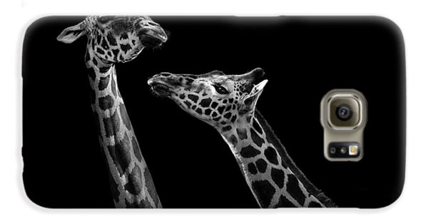Giraffe Galaxy S6 Case - Two Giraffes In Black And White by Lukas Holas