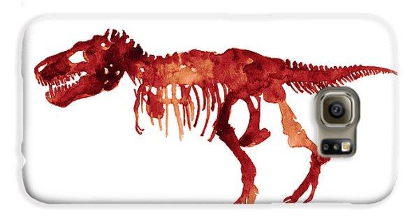 Tyrannosaurus Rex Skeleton Poster, T Rex Watercolor Painting, Red Orange Animal World Art Print Galaxy S6 Case by Joanna Szmerdt