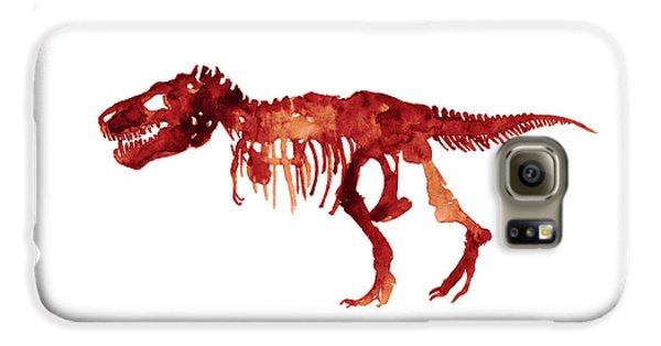 Tyrannosaurus Rex Skeleton Poster, T Rex Watercolor Painting, Red Orange Animal World Art Print Galaxy S6 Case