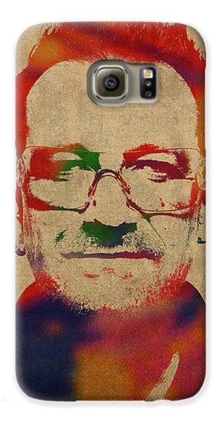 U2 Bono Watercolor Portrait Galaxy S6 Case