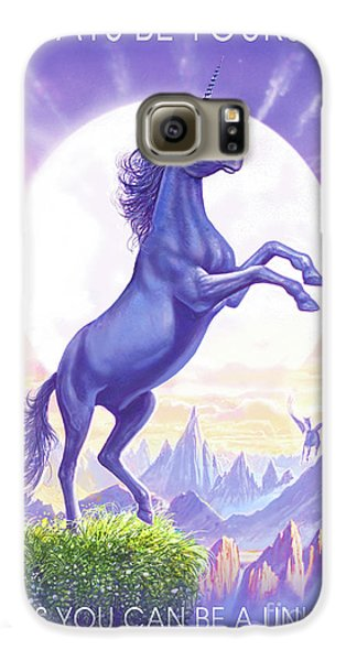 Unicorn Moon Ravens Galaxy S6 Case by Steve Crisp