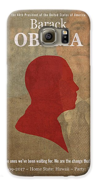 United States Of America President Barack Obama Facts Portrait And Quote Poster Series Number 44 Galaxy S6 Case by Design Turnpike