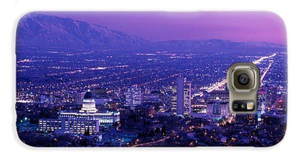 Usa, Utah, Salt Lake City, Aerial, Night Galaxy S6 Case