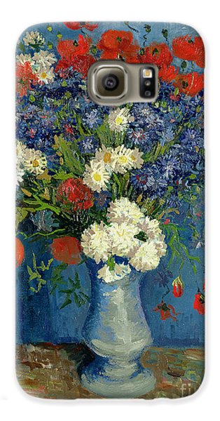 Vase With Cornflowers And Poppies Galaxy S6 Case by Vincent Van Gogh
