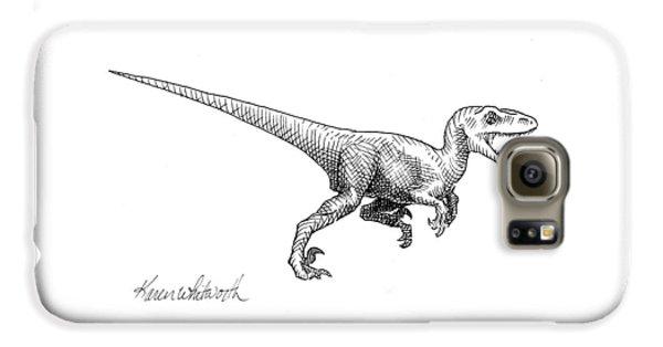 Velociraptor - Dinosaur Black And White Ink Drawing Galaxy S6 Case by Karen Whitworth