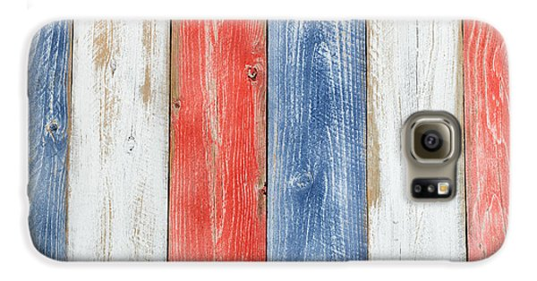 Vertical Stressed Boards Painted In Usa National Colors Galaxy S6 Case by Thomas Baker