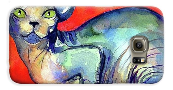 Vibrant Watercolor Sphynx Painting By Galaxy S6 Case