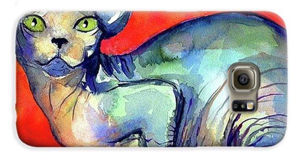 Galaxy S6 Case - Vibrant Watercolor Sphynx Painting By by Svetlana Novikova