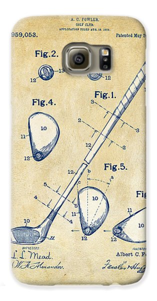 Vintage 1910 Golf Club Patent Artwork Galaxy S6 Case by Nikki Marie Smith
