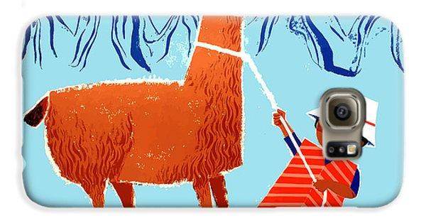 Llama Galaxy S6 Case - Vintage Child And Llama Peru Travel Poster by Retro Graphics
