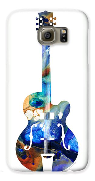 Music Galaxy S6 Case - Vintage Guitar - Colorful Abstract Musical Instrument by Sharon Cummings