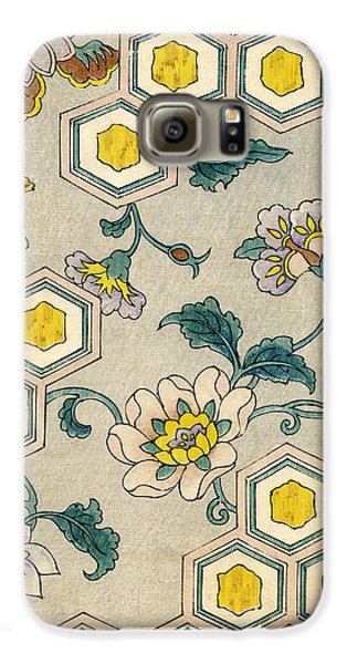 Flowers Galaxy S6 Case - Vintage Japanese Illustration Of Blossoms On A Honeycomb Background by Japanese School