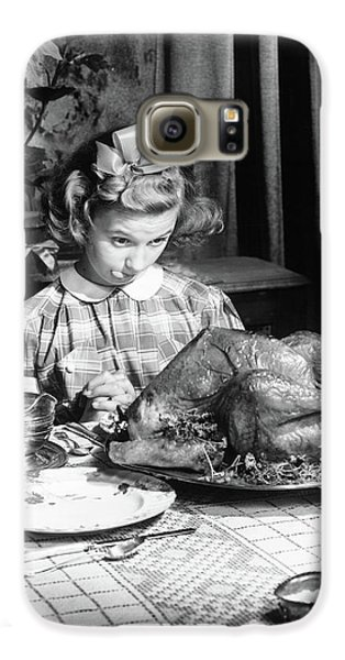 Vintage Photo Depicting Thanksgiving Dinner Galaxy S6 Case by American School